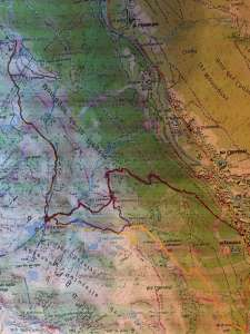 Route eerste dag bergtocht Chamonix Mont Blanc