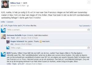 KLM fawake webcare, slang in klantcommunicatie