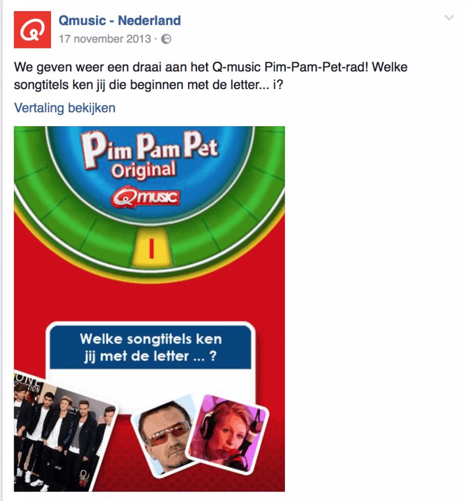 Facebook posting Q-Music